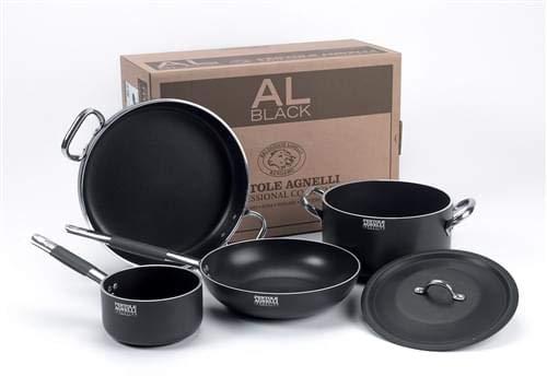 Set Batteria Pentole per 3-4 persone in alluminio antiaderente per Induzione Al-Black