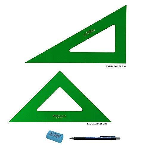 PACK LOTE Faber Castell Técnico - Escuadra 566-28 Cms + Cartabón 666-28 Cms + REGALO