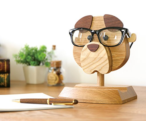 Artistic(TM - Handmade Wooden Spectacle Holder Eyeglass Holder Dog Display Stand for Home Office Desk Decor Accessories, 7 inches(H), Best Eyeglass Holder You can Ever Have!!