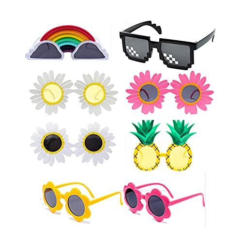 PUTOWUT Paquete de 8 gafas de fiesta divertidas gafas de sol de fiesta de la novedad gafas de sol hawaianas gafas de sol de fiesta de lujo suministros de fiesta decoración para adultos niños