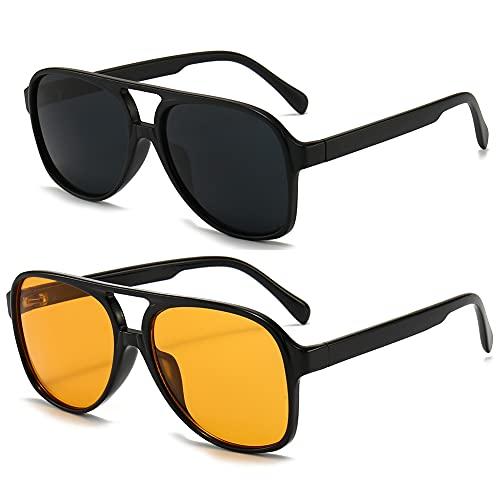 RUNHUIS Gafas de sol polarizadas para hombre y mujer, estilo retro de los años 70, estilo aviador, Negro mate + negro / amarillo,