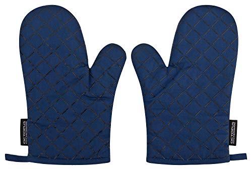 OCTOPUS Kitchenware Back-Ofenhandschuhe, Grill-Handschuhe, Backhandschuhe, Topfhandschuhe, 2er Set, Silikonbeschichtung als Hitzeschutz Anti-Rutsch (Heidelbeer-Blau)