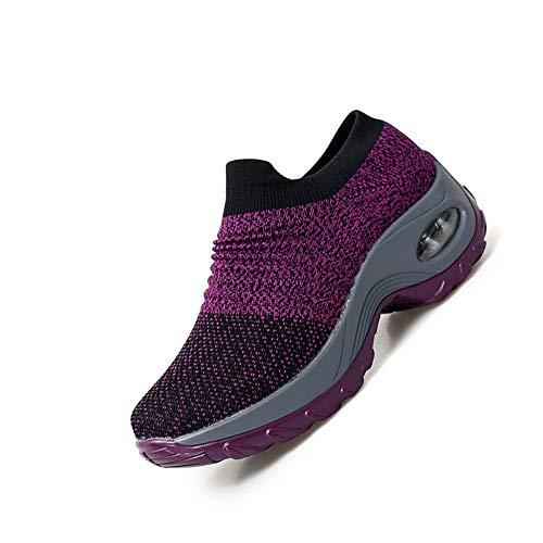 [ROVIS] ウォーキングシューズ レディーススニーカー 婦人靴 厚底スニーカー 運動靴 ナースシューズ 船型底 カジュアル スリッポン 軽量 柔軟 通気 エアクッション ソックススニーカー サイズ230パープル