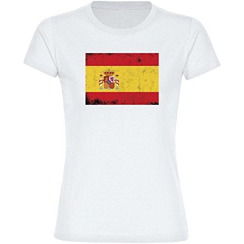 Camiseta con bandera de España retro, color blanco, para mujer, talla Camiseta divertida de fiesta con frases divertidas (tallas de la S a la 2XL) Blanco M