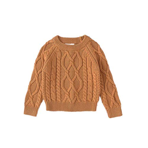 Guy Eugendssg 12M To 7 Years Baby & Kids Boys Girls Cable-Knit Pullover Sweaters Winter Knitted Sweaters Camel 3T