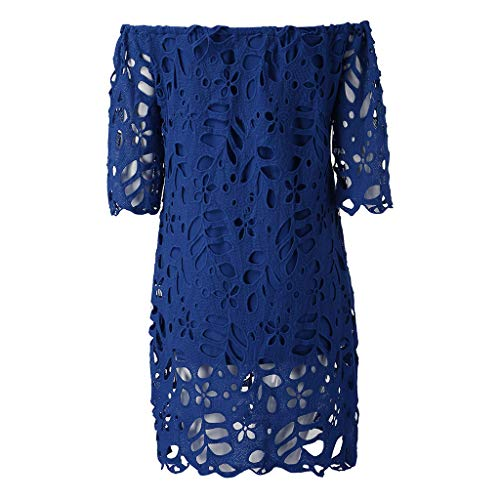 NANTE Top Women's Plus Size Dress Lace Slim Dresses Elegant Halter Collar Skirt Ladies Gown Loose Dress Woman's Clothing (Blue, XXXL)