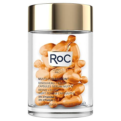 RoC - MULTI CORREXION Revive + Siero da notte luccicante - Antirughe e invecchiamento - Vitamina C - Riduzione dei punti neri - 30 capsule