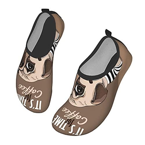 Nicokee Calzado de agua para perro de carlino Bebida animal para mascotas Café Playa Aqua Yoga Calcetines para hombres y mujeres, color, talla 42 EU