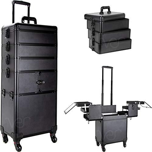 of makeup case professionals Sunrise Porto 2-In-1 Rolling Makeup Case Professional Nail Travel Organizer Box, Black Matte, 25 Pound (SI3364PPAB)