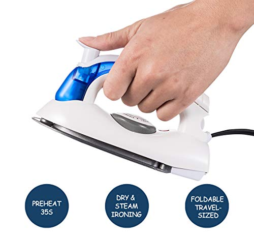 VICARKO Travel Mini Iron, Portable Steam Iron for Clothes, Handheld Steamer, Steam Iron, with Non-Stick Sole Plate, Steam Ironing and Dry Ironing, Fast Heated up, Detachable Water Tank, 700W