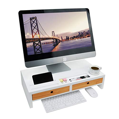 Bildschirmerhöhung Monitorständer Holz Monitor Erhöhung Bildschirmerhöher mit 2 Schubladen Bambus HBT 56x27x12cm, Weiß