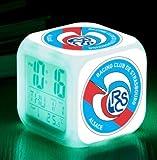 FDGFDG Sports Club Football LED Despertador Despertador Luminoso Reloj Digital 7 Colores Reloj Mini niños Despertador de cabecera