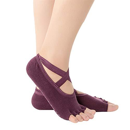 Huaduo Calcetines de yoga antideslizantes para mujer, sin dedos, con base de goma abierta, transpirables, para masajes en el gimnasio, para aliviar el dolor