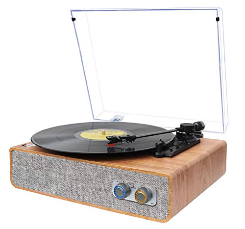 Vinyl Record Player Bluetooth Turntable with Built-in Speakers, Vintage Portable Turntable for Vinyl Record 3 Speed, Vinyl Player with Magnetic Cartridge LP Phonograph Retro Record Player, Brown Wood