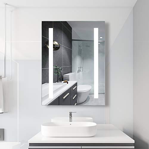 Habison Espejo de baño LED con iluminación de 6400 K, blanco frío, espejo de pared de 50 x 70 con interruptor de botón, IP44, resistente al agua
