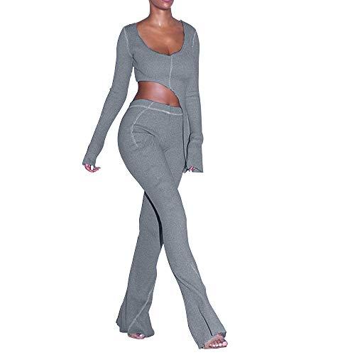 XLLAIS Womens Sexy Asymmetric Crop top and Pants Set Clubwear Grey S