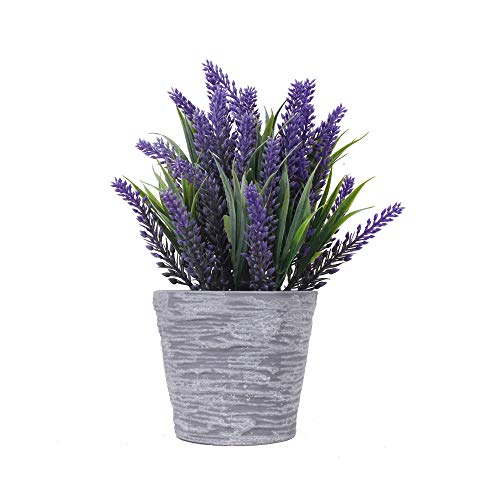 Potted Lavender Artificial - Faux Flowering Lavender Plants with Gray Ceramic Vase for Home, Party & Wedding Décor (Purple-Leaf)