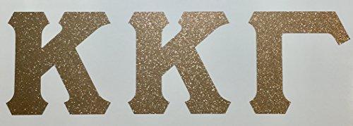 Kappa Kappa Gamma Sorority Gold Glitter Letter Sticker Decal Greek 2 Inches Tall for Window Laptop Computer Car KKG