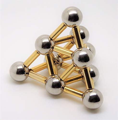 Stresskiller - Kreativ Set aus 24 Neodym-Magneten 4 x 12,5 mm vergoldet und 10 Stahlkugeln 12,7 mm Durchmesser