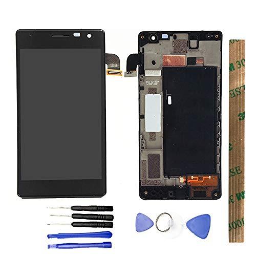 JayTong - visualización LCD y digitalizador de visualización táctil de Repuesto para Nokia Lumia 730 735 Negro con Marco