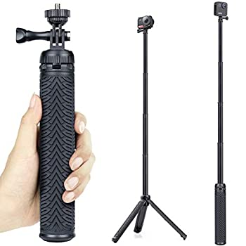 GEPULY Extendable Selfie Stick with Tripod Stand for GoPro Hero 8 7 6 5 4 3 Session Fusion Max OSMO Action AKASO SJCAM Cell Phones Functions as Hand Grip Telescoping Monopod Pole Tripod Stand