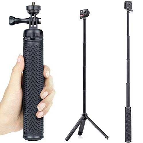 GEPULY Extendable Selfie Stick with Tripod Stand for GoPro Hero 8 7 6 5 4 3 Session Fusion Max, OSMO Action, AKASO, SJCAM, Cell Phones. Functions as Hand Grip, Telescoping Monopod Pole, Tripod Stand