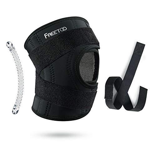 FREETOO Kniebandage Knieschoner Atmungsaktiver Knieschützer Verstellbare Knieorthese mit Gelenkschienen für Damen und Herren (Kompressions Design S/M)