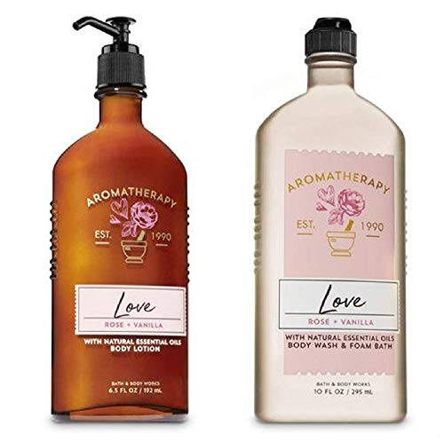 BATH AND BODY WORKS Aromatherapy LOVE - ROSE & VANILLA Duo Body Lotion and Body Wash Full Size