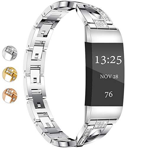 Wekin - Cinturino di ricambio compatibile per Fitbit Charge 3/3 SE, cinturino regolabile in acciaio inox in metallo per donne e uomini con strass luccicanti, accessori per bracciale elegante
