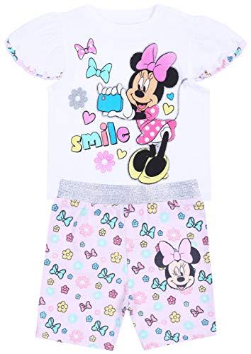 Zestaw dla dziewczynki, biała bluzka + róża, krótkie spodnie, Minnie Mouse Disney
