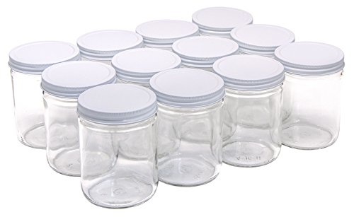 North Mountain Supply 16 Ounce Glass Wide Mouth Straight-Sided Canning Jars - with White Metal Lids - Case of 12