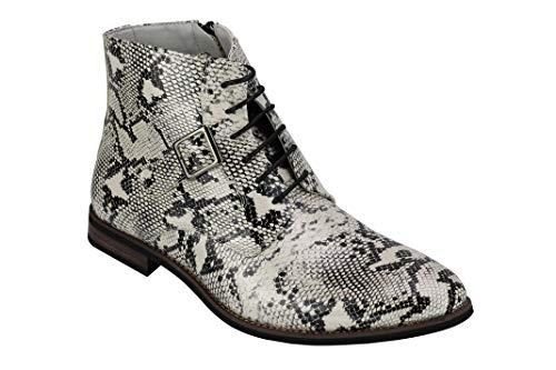 Xposed Herren-Patent Kunstleder Glänzende Schlange Haut Ankle Boots mit Reißverschluss & Lace up Chelsea Dealer Schuhe [A2074H-WHITE-42]