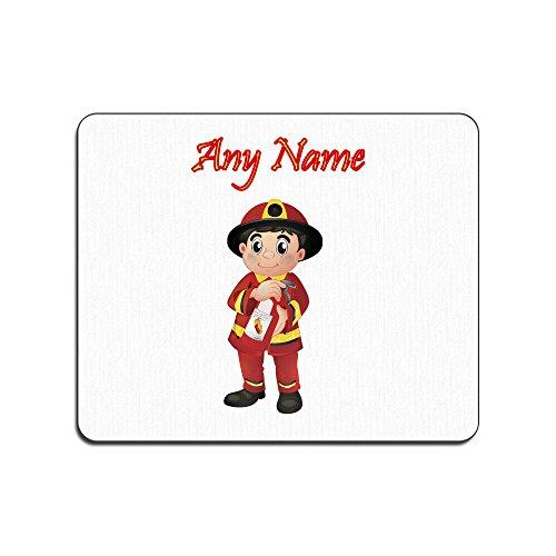 UNIGIFT Gepersonaliseerd geschenk - Brandweerman met brandblusser muismat (Carrière Design Thema, kleur opties) - Naam/bericht op uw unieke pad muismat muismat - rood uniform