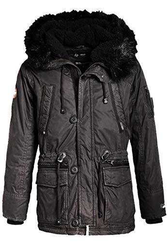khujo Ference Herren Jacke Parka Winterjacke schwarz Black Grey Charcoal (M, Charcoal (Darkgrey) Standard)