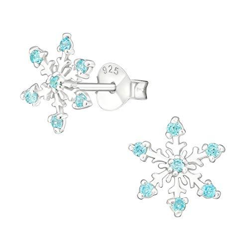 LRP Pendientes de copo de nieve de circonita, plata 925, Frozen Elsa - color azul