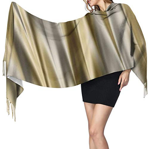 Sciarpa a strisce in raso color oro giallo e grigio argento, super morbida con nappa, alla moda e calda, stola invernale da donna