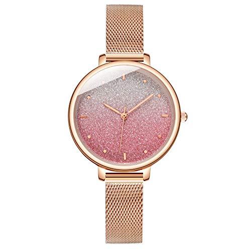 Reloj de Pulsera de Cuarzo para Mujer con diseño de Cielo Estrellado y Correa de Malla, día de San Valentín