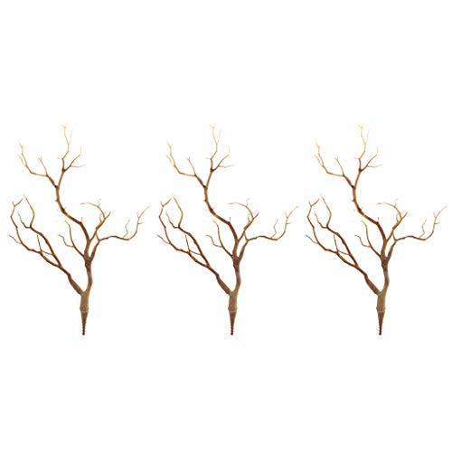 Amuzocity 3x Coffee Realistic Simulated Plastic Dried Tree Branch 35cm Photo Prop