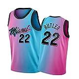Miami Heat Jimmy Butler City Edition Jersey, Chaleco sin Mangas de Baloncesto y Traje de la Fiesta de Hip Hop de Malla Tops de Secado rápido de la Malla 22# 1-S