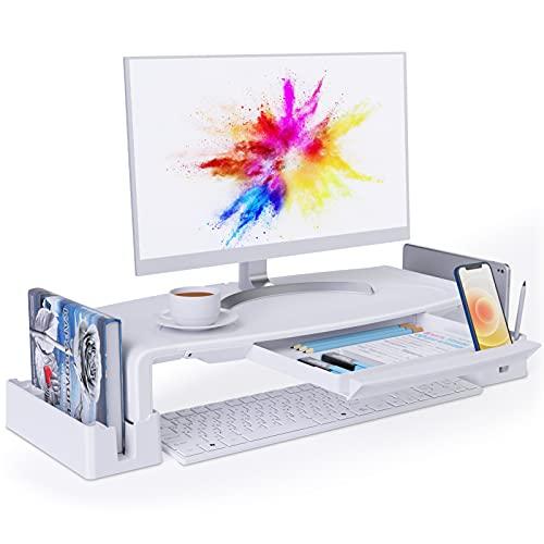COKWEL Soporte de Monitor con Alturas Ajustables Monitor Elevador Mesa con Organizador para Almacenamiento, para Monitor de PC Ordenador portátil Impresora de Oficina Alivia el Dolor de Cuello -Blanco