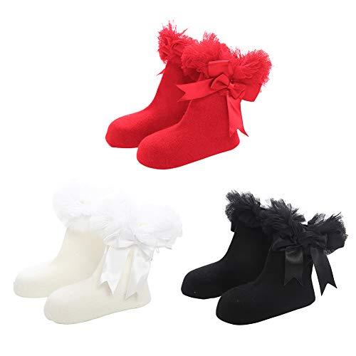 Happy Cherry -Baby Girls Bobby Socks Sox Puffy Mesh Big Bow Knot Dress Newborn Kids Anti-Slip Boneless Socks 2-7 Years Stocking
