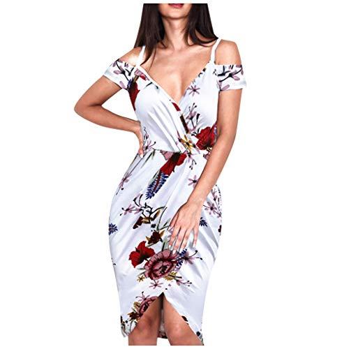 manadlian Robes pour Femmes Longue Manche Courte Robe Col V Robe de Soirée A-Line Sexy Robes Plage Casual Chic Vintage Tops Chemise Fille Robe de Cocktail