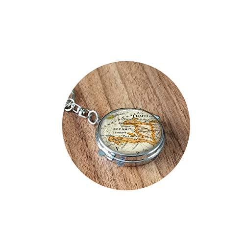 bab Haiti Karte Halskette, Haiti Karibik Landkarte Anhänger, Haiti Karte Halskette, Karte Schmuck Geschenk, Faltspiegel Reise Tragbar Kompakt Tasche Rund Kosmetik