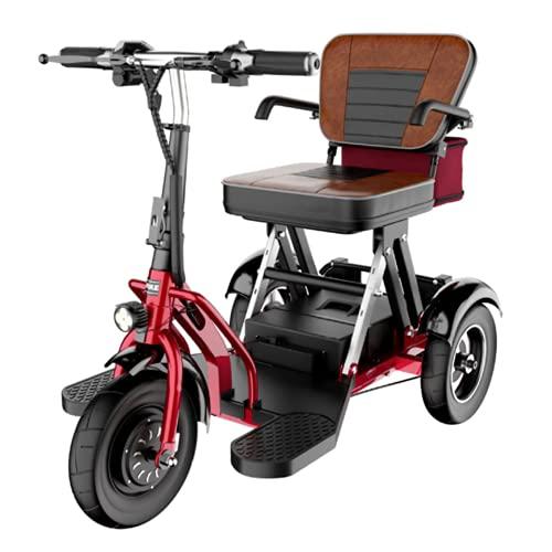 EWYI Scooter De Movilidad, 3 Ruedas Coche Eléctrico Plegable para Discapacitados con 3 Cambios De Marcha, Triciclo Eléctrico Ligero para Adultos Mayores Discapacitados 20AH/55KM