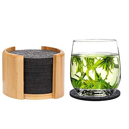 WTB Filz Untersetzer rund für Gläser - 10er Set Ink. Bambus Box - Hochwertige Glasuntersetzer in anthrazit für Getränke, Tassen, Bar, Glas, Cocktail Tischdeko - Tischuntersetzer Filzuntersetzer