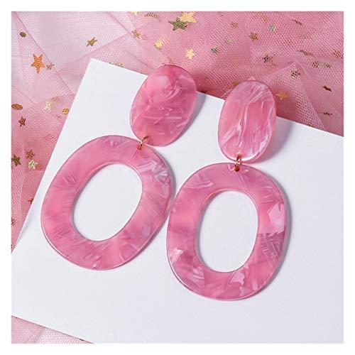 Korean Women's Earrings Pink Fashion Jewelry Sweet Acrylic Geometric Pendant Gold Earrings (Color : Pink 15)