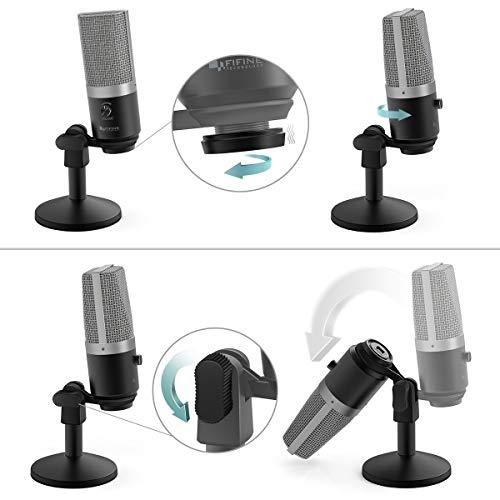FIFINE PC USB Mikrofon für Computer (Mac und Windows), Kondensator Mikrofon optimiert für Aufnahme und Streaming, Voice Over, Podcast für YouTube, Skype - K670