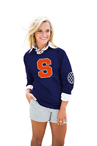 Gameday Couture NCAA Syracuse Orange Womens Puff Print Elbow Patch Long Sleeve Alternate, Small, Navy