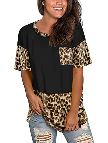 Floral Find Women's Round Neck Short Sleeve Leopard Print Tops Summer Loose Casual T-Shirt with Pocket Black