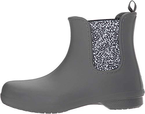 Crocs Women's Freesail Chelsea Ankle Rain Boots Water Shoes, Slate Grey/Dots, 6 M US